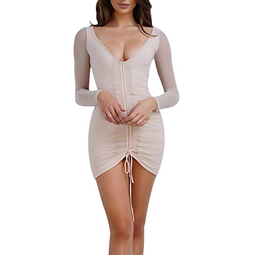 Ruched Bust Metal Neck Dress - 5