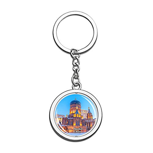 St. Sophia Cathedral Harbin China Keychain 3D Crystal Spinning Round Stainless Steel Keychains Travel City Souvenir Key Chain Ring