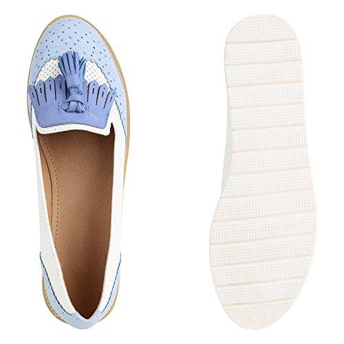 ... Damen Slipper Lack Plateau Loafers Metallic Schuhe Profilsohle Loafer  Flats Glitzer Slippers Quasten Lochung Flandell Blau c16f048c43