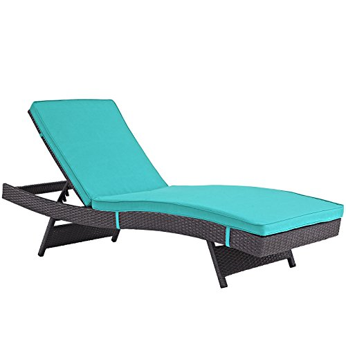 Cheap Modway Convene Wicker Rattan Outdoor Patio Chaise Lounge Chair in Espresso Turquoise
