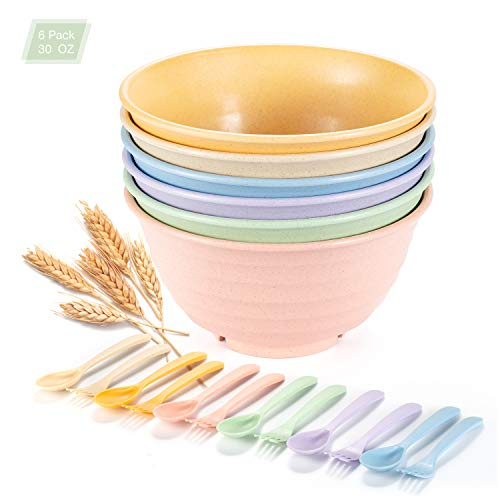 Unbreakable Cereal Bowls, OAMCEG 30oz 6 Pack Wheat