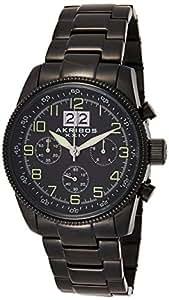 Akribos XXIV Men's Black Dial Stainless Steel Band Watch - AK862BK