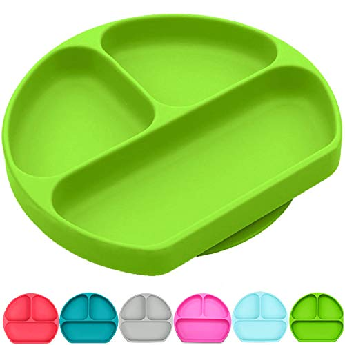 Silikong Suction Plate for Toddlers | BPA Free | Microwave, Dishwasher and Oven Safe | Fits Most Highchair Trays | Stay Put Divided Baby Feeding Bowls and Dishes for Kids and Infants (Gyroscopic Bowl)
