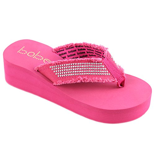 Women Wedge Fuchsia - Women's Fashion Platform Wedge Thong Flip Flops Sandals (8, Fuchsia)