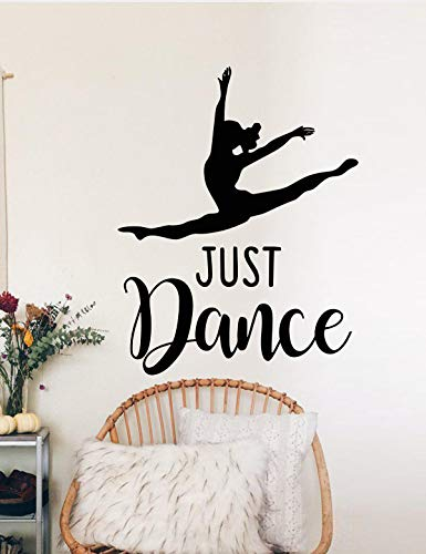 Just Dance Quote Bedroom Living Room Art Home Decoration Teen Dancer Dancing Girls Leap Ballerina Cute Wall Decals Decor Vinyl Sticker SK10955