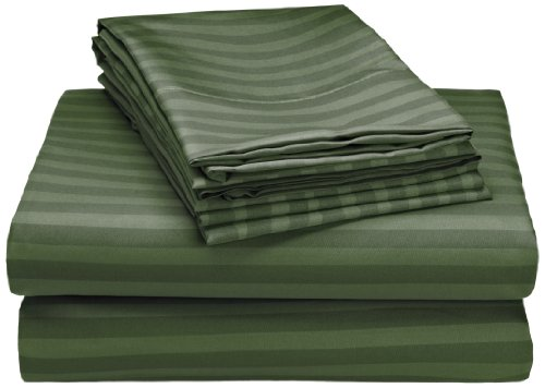 Hotel New York 90GSM Embossed Dobby Stripe Microfiber 6-Piece Pillowcases and Sheets Set, Full, Hunter