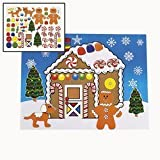 """Fun Express 12 Large Make a Gingerbread House Sticker Sheets/Christmas Craft/Activity/8.5"""" X 11"""""""