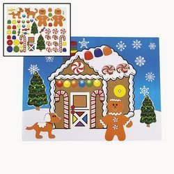 Fun Express 12 Large Make a Gingerbread House Sticker Sheets/Christmas Craft/Activity/8.5
