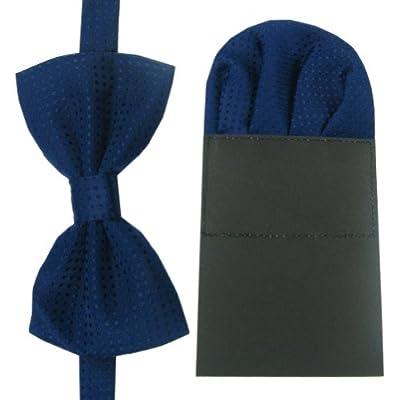Enwis Tuxedo Mens Bowtie Pre-made Hankerchief Adjustable Polkadot Navy Blue