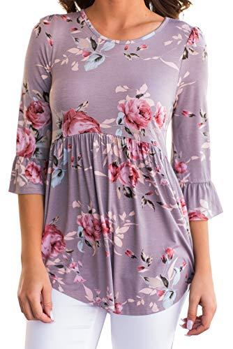 iGENJUN Women's Scoop Neck 3/4 Ruffle Detailed Sleeve Floral Tops Blouse,DG-4,M