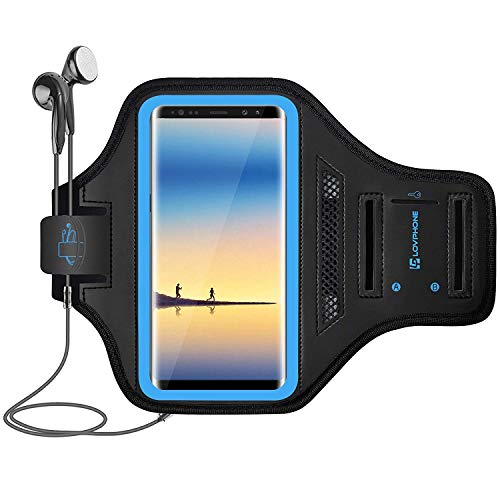 LOVPHONE Note 8/Note 9 Armband Sport Running Exercise Gym Case for Samsung Galaxy Note 8/Note 9,Fingerprint Sensor Access Supported with Key Holder & Card Slot,Water Resistant and Sweat-Proof(Blue)