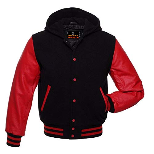 Mens Varsity Jacket Hoodie Cowhide Leather Arms and Wool Letterman College Top Coat (Black/Red, XXX-Large)