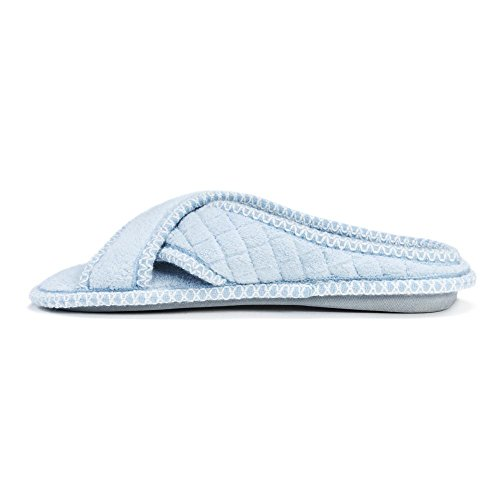 Blue Womens LUKS Slipper Chenille Light ADA Cross MUK Micro Hfcnvvq