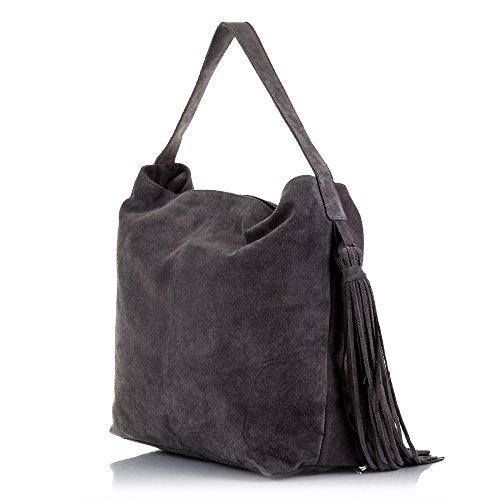 Nudo 42x34x Cm Grigio Vera Bag In Frange Italy Borsa Pelle Camoscio Signora Italiana Tracolla Artegiani Shopping A Colore piel Con Firenze Genuino Made UxHB11