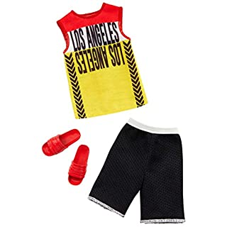 Barbie Clothes: 1 Outfit for Ken Doll Includes Los Angeles Tank, Black Shorts and Red Sandals, Gift for 3 to 8 Year Olds