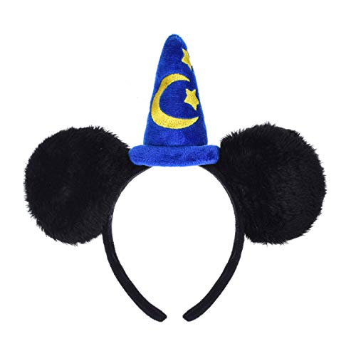 A Miaow Flower Headband Unicorn Headpiece Mickey Mouse Ears Costume Minnie Hair Hoop Halloween Part (Yellow Moon -