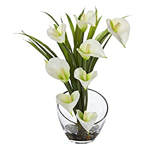 Nearly Natural Calla Lily and Grass in Vase 79