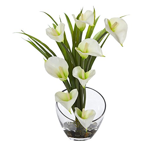 Nearly Natural Calla Lily and Grass in Vase, 15.5