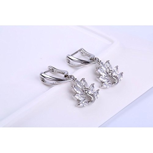 Boucles d'oreilles anneaux paon oxyde de zirconium plaqué or blanc