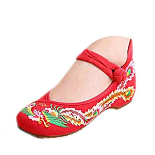 Floreali Ricamati Donna Rosso Scarpe Balletto Ballerine Mary Ballerina Della Cinesi Cotone Loafer Jane Caifeng d6Oq5q