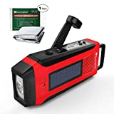 RunningSnail Emergency Solar AM/FM//NOAA Weather Radio - 3W LED Flashlight, SOS Alarm & 2000MAh Power Bank for Hurricane/Storm/ Earthquake/Camping/ Hiking - with Emergency Blanket