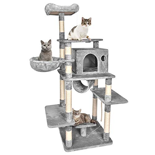 B BAIJIAWEI Big Cat Tree - Cats Condo Furniture Tower - Multi Level Cat Tree with Sisal, Scratcher Activity Tree with Scratching Posts for Kittens, Cats and Pets (Dark Gray - 67