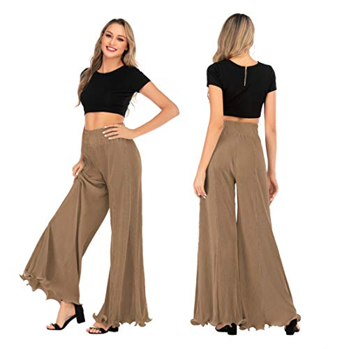 YSJERA Women's Chiffon Wide Leg Palazzo Pants Maxi Full Length Solid Gaucho Pants Culottes Trousers (S, Stripe Brown)