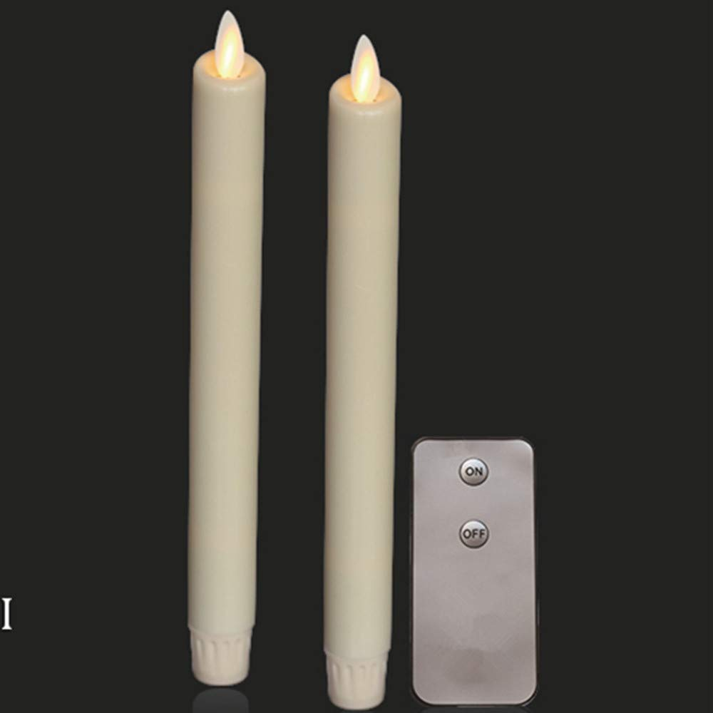 2PCS Flameless 8'' Ivory Battery Operated Taper Candles with Flickering Wick - Flameless Candle with Timer and Remote