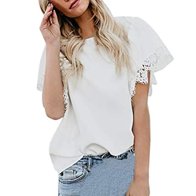 RAINED- Women Short Sleeve Tunic Top Plain Casual T Shirts Mesh Ruffle Blouse Lace Patchwork Slim Fit Tops Legging