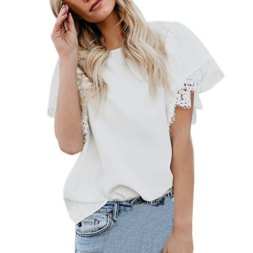 Lace Stitching Tops Ladies Fashion Sexy Casual Solid Color Short-Sleeved Summer Loose Round Neck T-Shirt top MEEYA White ()