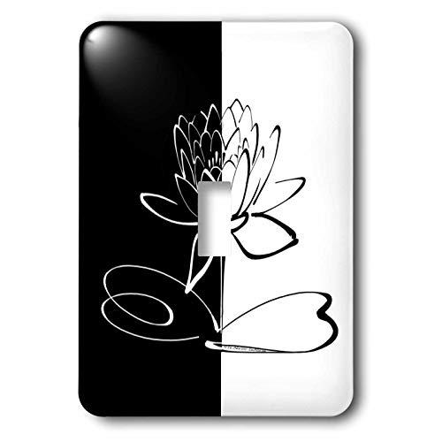 3dRose Lee Hiller Designs Yin Yang - Yin Yang Lotus Blossom - Light Switch Covers - single toggle switch ()