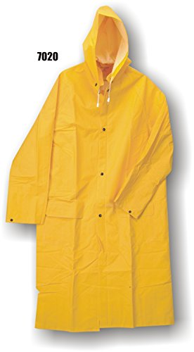 (Majestic Glove 7020/X1 PVC/Polyester Raincoat with Hood, 35 mm, X-Large, Yellow (Case of 20 Units))