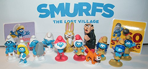 Smurfs and the Lost Village Movie Deluxe Party Favors Goody Bag Fillers 14 Set with Figures and Stickers with Popular Classic Smurfs, 4 New Smurfs and Bunny Bucky!