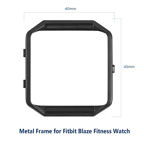 Simpeak Fitbit Blaze Band Frame (Pack of 3), Replacement Accessory Stainless Steel Frame for Fit bit Blaze Smart Watch, Black, Silver, Rose Gold