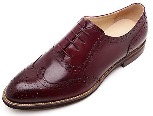 Burgundy Shoes Oxfords (U-lite Burgundy Women Brogues Lace-up Wingtip Leather Flat Oxfords Vintage Oxford Shoe Bur 8.5)