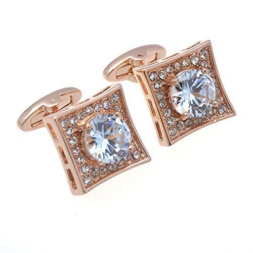 SJJY High-end Zircon Rhinestone Square Cufflinks 2PC Fashion Men's and Women's Classic Shirt Decoration Gift Diamond-Studded Cufflinks