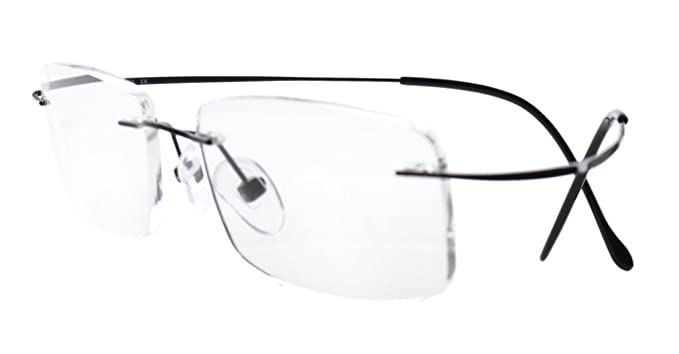 26b0731b708c Amazon.com  Eyekepper Titanium Rimless Eyeglasses Men Women Black ...