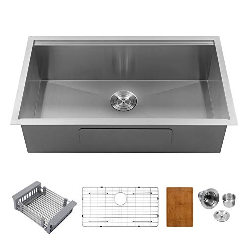 GhomeG Stainless Steel Kitchen Sink GUS32199A1 32 Inch Ledge Undermount Deep 18 Gauge R10 Tight Radius Single Bowl Sink ()
