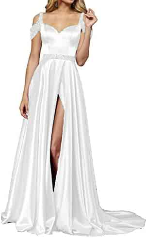 9bd447afc94 YMSHA Women s Long Off Shoulder Formal Prom Dresses with Split Satin Evening  Party Gown 32PM