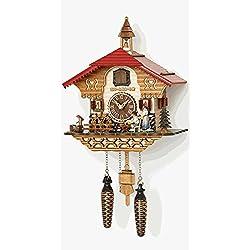 Musical Quartz Chalet Cuckoo Clock with Black Forest Women by Trenkle Uhren