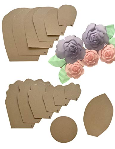 two pack rose peony paper flower template kit free leaf