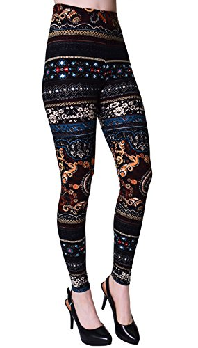 VIV Collection Plus Size Printed Brushed Ultra Soft Leggings (Aquatic Flames)