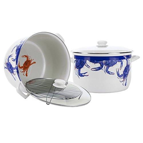 Enamelware - Blue Crab Pattern - 18 Quart Stock Pot by Golden Rabbit