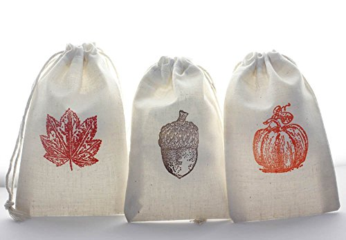 Maple 12 String - Autumn muslin favor bags, 3