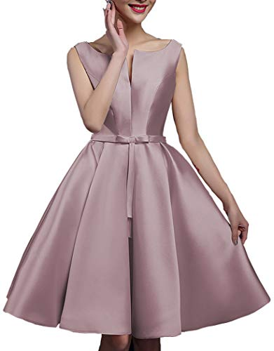 - YORFORMALS Women's Bateau Neck A-line Satin Bridesmaid Dress Short Evening Party Gown with Pockets Size 6 Dusty Rose