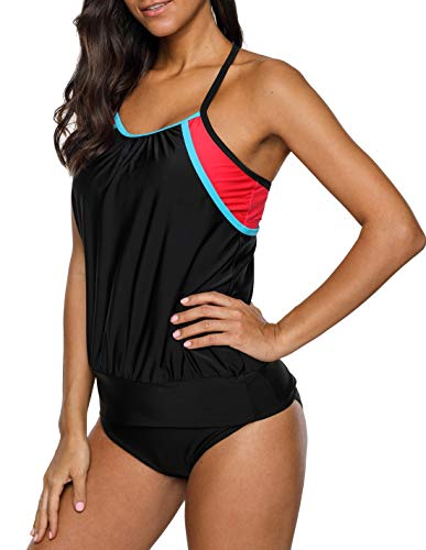 - beautyin Womens Stripe Sporty Double Up Tankini Set Two Piece Racerback Swimsuit Black/Red