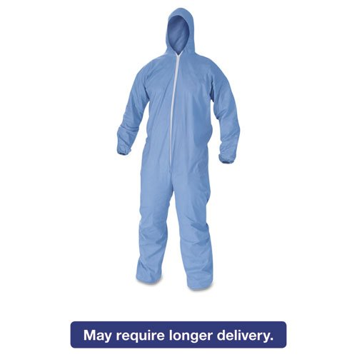 A60 Elastic-Cuff & Back Hooded Coveralls, Blue, XL, 24/Case KCC45024 by Essendant (Image #2)