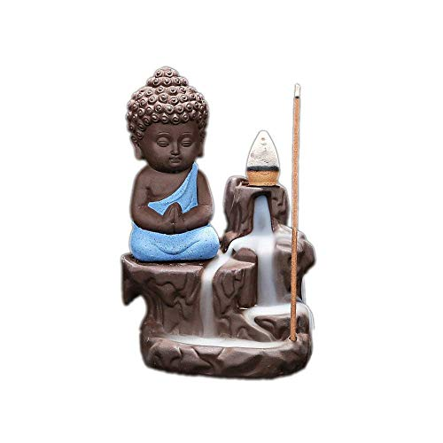 Lsxszz8-Ceramic Backflow Incense Burner with 10 pcs Incense Cones Free, Waterfall Smoke Incense Holder for Living Room Decorations, Aromatherapy Diffusers Ornament, (Sky ()