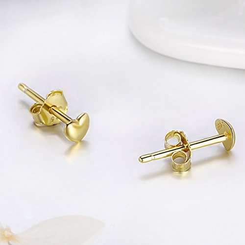 Bamoer 18K Gold Plated Love Heart Shape Earrings Stud for Anniversary Gift by BAMOER (Image #4)