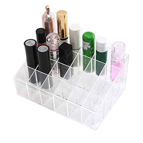 (Legros8 24 Grid Transparent Trapezoidal Nail Polish Lipstick Cosmetic Display Stand Cosmetic Display Cases)